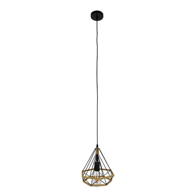 Vintage Κρεμαστό Φωτιστικό Οροφής Μονόφωτο Μαύρο Μεταλλικό με Μπεζ Σχοινί Φ25 GloboStar FLUTED 01421 - 2