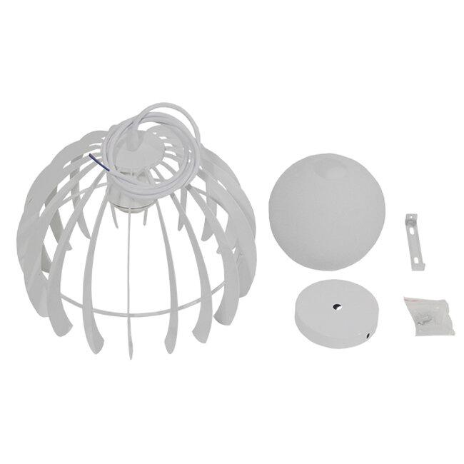 Μοντέρνο Κρεμαστό Φωτιστικό Οροφής Μονόφωτο Λευκό Μεταλλικό Πλέγμα με Λευκό Γυαλί Φ26  STEPHEN 01225 - 9