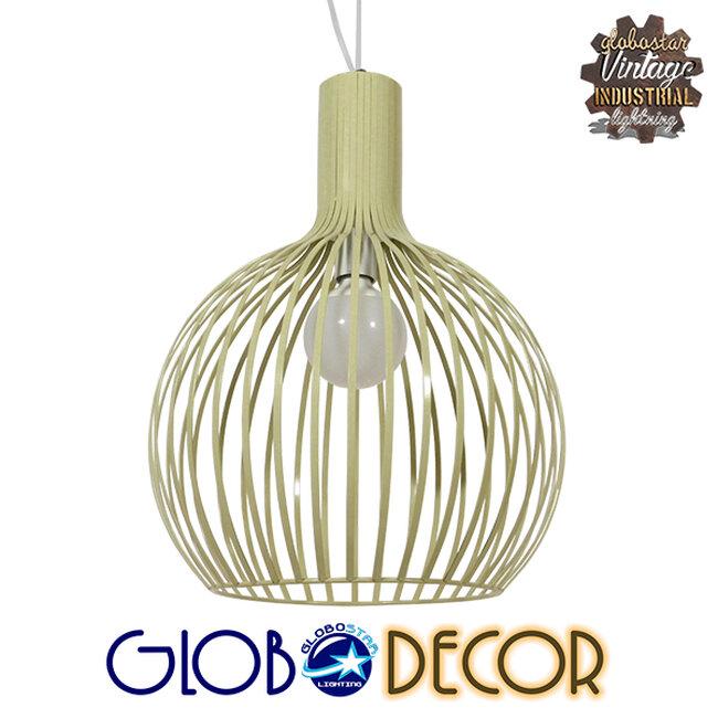 Vintage Industrial Κρεμαστό Φωτιστικό Οροφής Μονόφωτο Μπεζ Μεταλλικό Πλέγμα Φ38  GOBLET LIGHT 01267 - 1