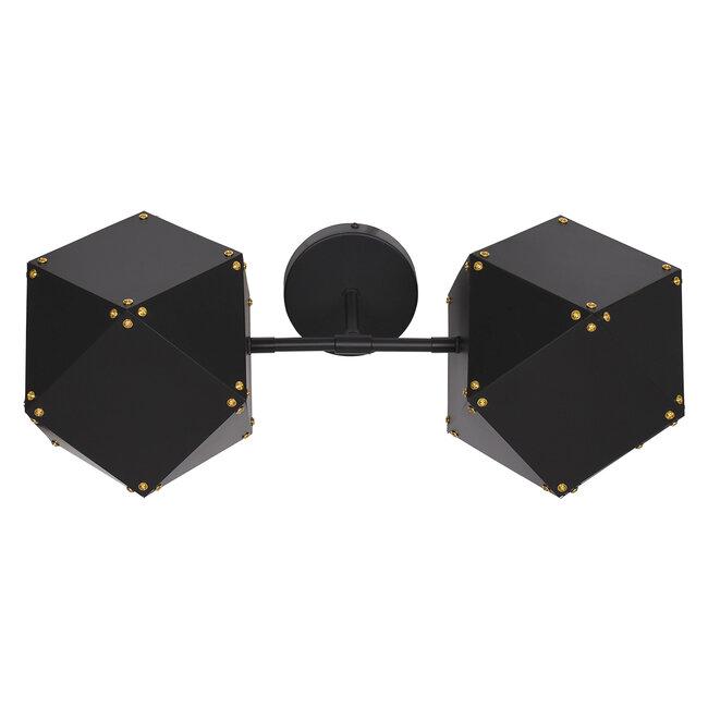 WELLES Replica 00795 Μοντέρνο Φωτιστικό Τοίχου Απλίκα Δίφωτο Μεταλλικό Μαύρο Χρυσό Μ52 x Π21 x Υ17cm - 5