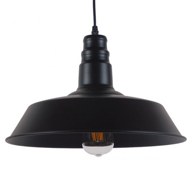 Vintage Industrial Κρεμαστό Φωτιστικό Οροφής Μονόφωτο Μαύρο Μεταλλικό Καμπάνα Φ36 GloboStar RAY BLACK 01049 - 1