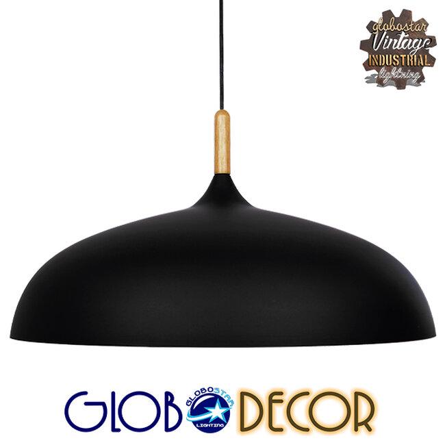Μοντέρνο Κρεμαστό Φωτιστικό Οροφής Μονόφωτο Μαύρο Μεταλλικό Καμπάνα Φ60  VALLETE BLACK 01259 - 1