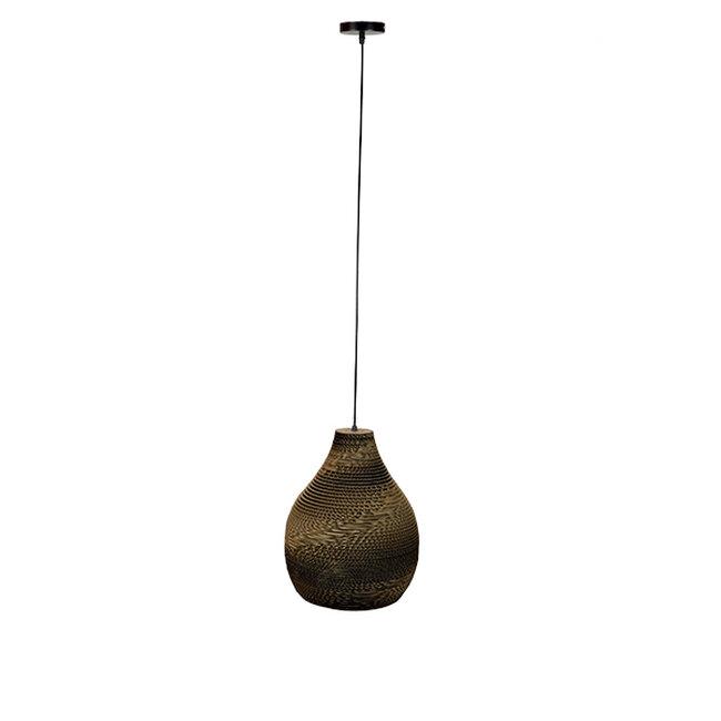 Vintage Κρεμαστό Φωτιστικό Οροφής Μονόφωτο 3D από Επεξεργασμένο Σκληρό Καφέ Χαρτόνι Καμπάνα Φ30  MYKONOS 01292 - 2