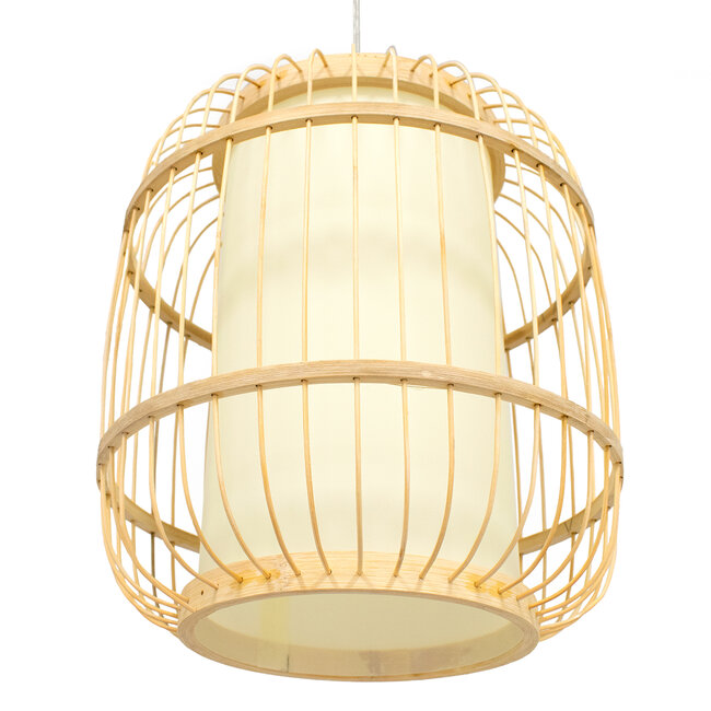 GloboStar® DE PARIS 01633 Vintage Κρεμαστό Φωτιστικό Οροφής Μονόφωτο Μπεζ Ξύλινο Bamboo Φ26 x Y32cm - 5