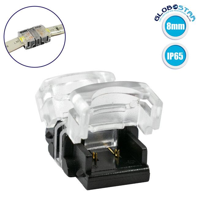 GloboStar® 70715 Αδιάβροχος Ταχυσύνδεσμος Ένωσης IP65 - Strip To Strip Connector για Ένωση 2 x Μονόχρωμες Αδιάβροχες Ταινίες LED Πλάτους 8mm - 1