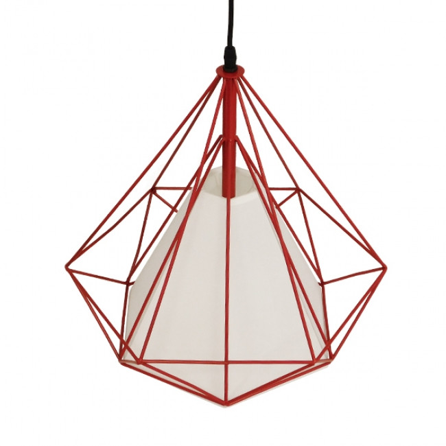 Μοντέρνο Industrial Κρεμαστό Φωτιστικό Οροφής Μονόφωτο Κόκκινο με Άσπρο Ύφασμα Μεταλλικό Πλέγμα Φ38 GloboStar KAIRI RED 01620 - 5