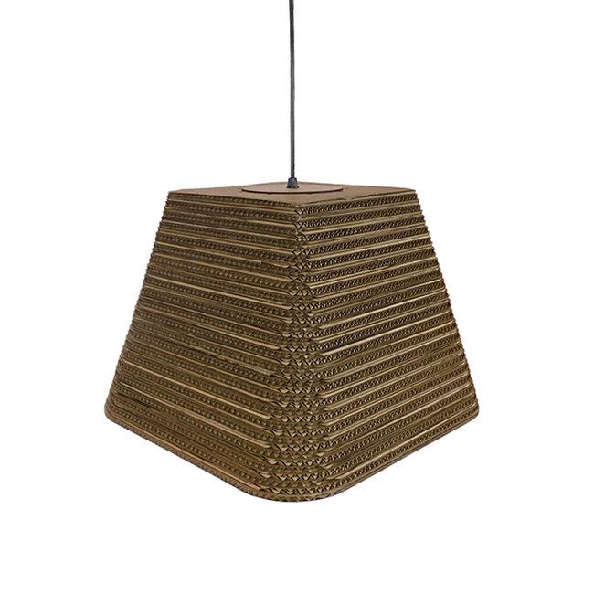 Vintage Κρεμαστό Φωτιστικό Οροφής Μονόφωτο 3D από Επεξεργασμένο Σκληρό Καφέ Χαρτόνι Καμπάνα Φ38  CORFU 01295 - 5
