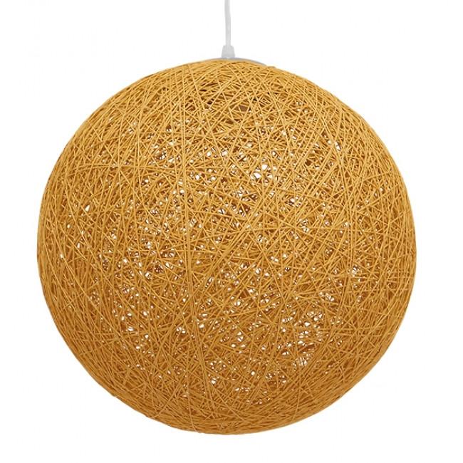 Vintage Κρεμαστό Φωτιστικό Οροφής Μονόφωτο Μπεζ Χρυσό Ξύλινο Ψάθινο Rattan Φ40 GloboStar WOTAN 01357 - 5