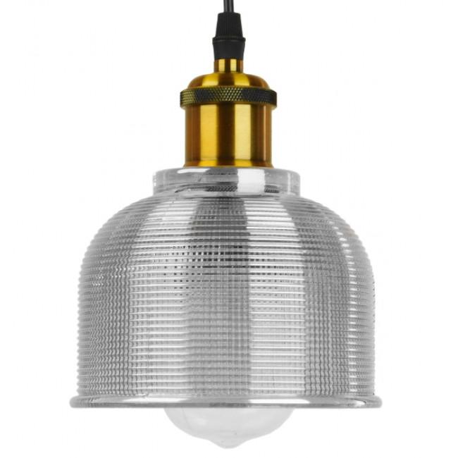 Vintage Κρεμαστό Φωτιστικό Οροφής Μονόφωτο Γυάλινο Διάφανο Καμπάνα με Χρυσό Ντουί Φ14 GloboStar SEGRETO TRANSPARENT 01447 - 3