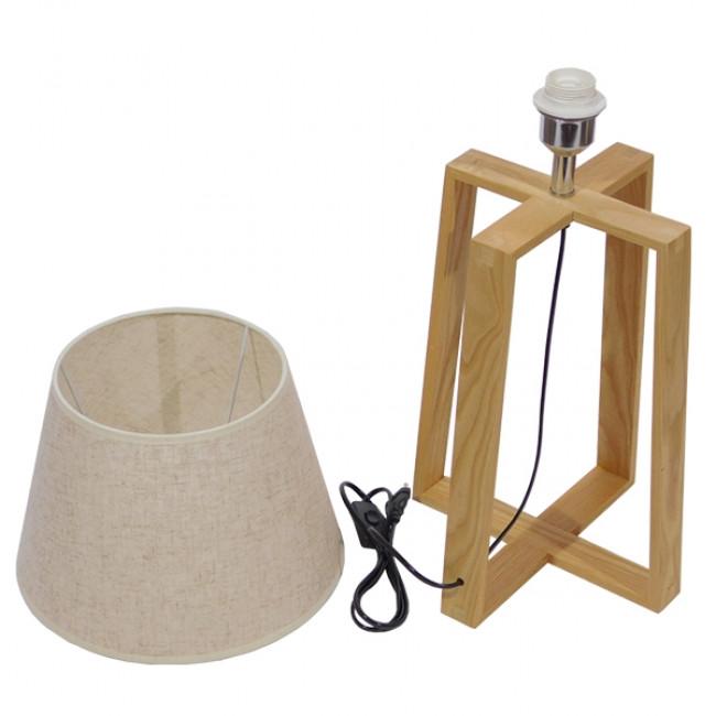 Μοντέρνο Επιτραπέζιο Φωτιστικό Πορτατίφ Μονόφωτο Ξύλινο με Μπεζ Καπέλο Φ30 GloboStar SQUID 01265 - 5