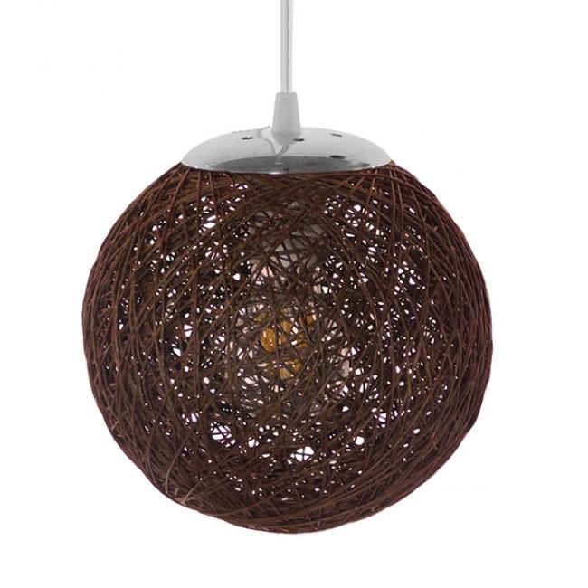 Vintage Κρεμαστό Φωτιστικό Οροφής Μονόφωτο Καφέ Ξύλινο Ψάθινο Rattan Φ20  OHIO 01354 - 3
