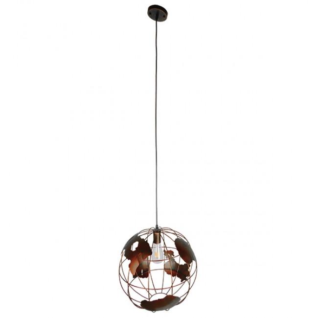 Vintage Industrial Κρεμαστό Φωτιστικό Οροφής Μονόφωτο Καφέ Σκουριά Μεταλλικό Πλέγμα Φ40  EARTH RUST 40CM 01665 - 2