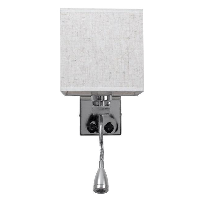 ELEGANT 01495 Μοντέρνο Φωτιστικό Τοίχου Απλίκα Μεταλλικό Χρώμιο Νίκελ με Λευκό Ύφασμα Δίφωτο 1xE27 - Ρυθμίζόμενο Σώμα Σπιράλ με CREE LED 3W Θερμό Λευκό 2700K - Διακόπτες On / Off Μ17 x Π21 x Υ43cm - 5