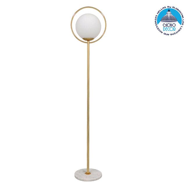 Μοντέρνο Φωτιστικό Δαπέδου Μονόφωτο Μεταλλικό Χρυσό με Milky Γυαλί Φ35 GloboStar VERSAILLES GOLD 170CM 01543 - 1