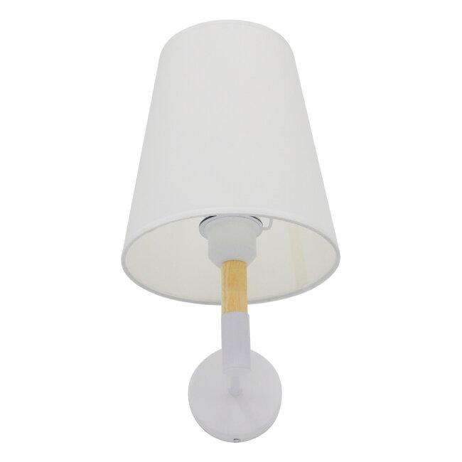 Μοντέρνο Φωτιστικό Τοίχου Απλίκα Μονόφωτο Λευκό με Μπέζ Ξύλο Μεταλλικό Φ20  LYDFORD WHITE 01433 - 11
