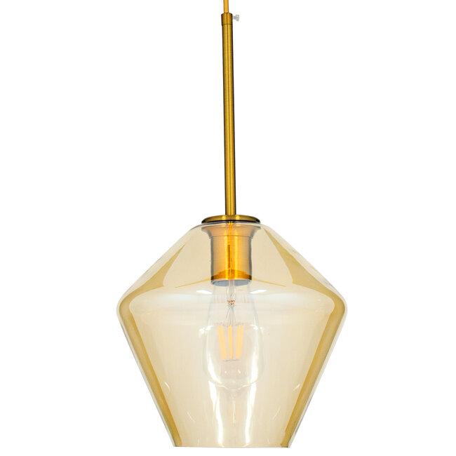 GloboStar® AMARIS 00869 Μοντέρνο Κρεμαστό Φωτιστικό Οροφής Μονόφωτο Γυάλινο Φιμέ Μελί Φ22 x 22CM - 4