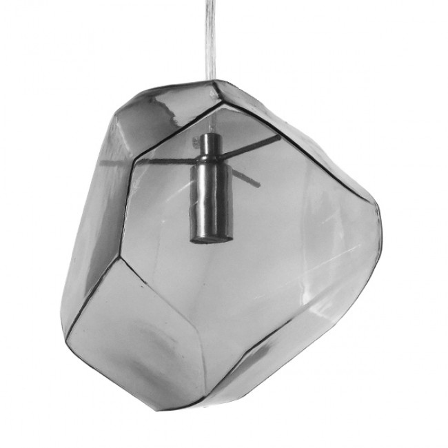 Μοντέρνο Κρεμαστό Φωτιστικό Οροφής Μονόφωτο Γυάλινο Γκρι Διάφανο GloboStar DIADEMA 01307 - 1