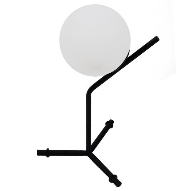 Μοντέρνο Επιτραπέζιο Φωτιστικό Πορτατίφ Μονόφωτο Μαύρο Μεταλλικό με Λευκό Γυαλί Φ23 GloboStar ELFRIS 01100 - 4