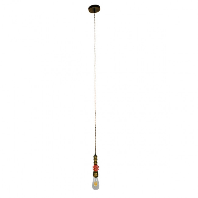 Vintage Industrial Κρεμαστό Φωτιστικό Οροφής Μονόφωτο Μπρούτζινο Μεταλλικό GloboStar SPIGOT 01413 - 2