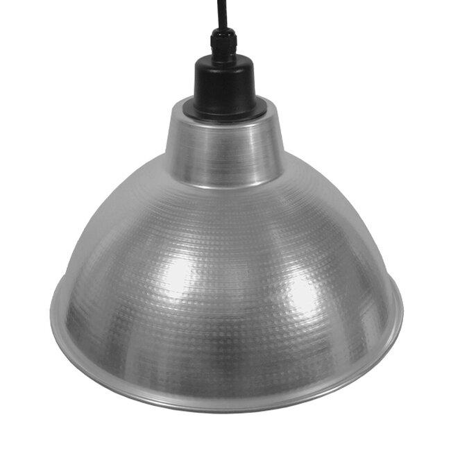 Vintage Industrial Κρεμαστό Φωτιστικό Οροφής Μονόφωτο Ασημί Μεταλλικό Καμπάνα Φ39  LOUVE SILVER 01178 - 6