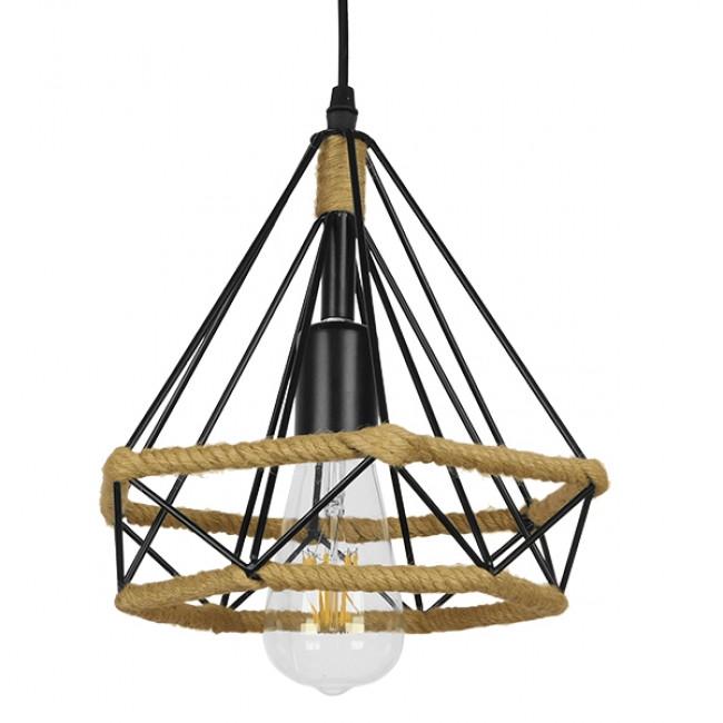 Vintage Κρεμαστό Φωτιστικό Οροφής Μονόφωτο Μαύρο Μεταλλικό με Μπεζ Σχοινί Φ25 GloboStar FLUTED 01421 - 1