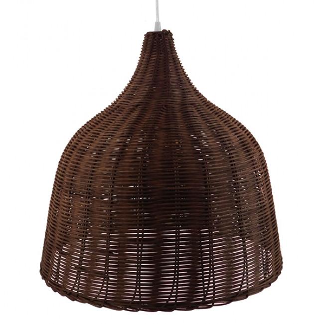 Vintage Κρεμαστό Φωτιστικό Οροφής Μονόφωτο Καφέ Σκούρο Ξύλινο Ψάθινο Rattan Φ45 GloboStar WABI 01368 - 6