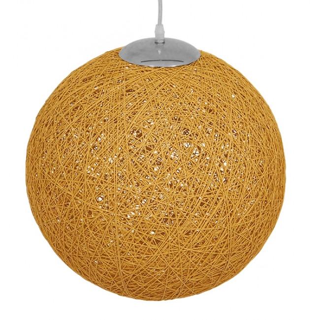 Vintage Κρεμαστό Φωτιστικό Οροφής Μονόφωτο Μπεζ Χρυσό Ξύλινο Ψάθινο Rattan Φ40 GloboStar WOTAN 01357 - 4