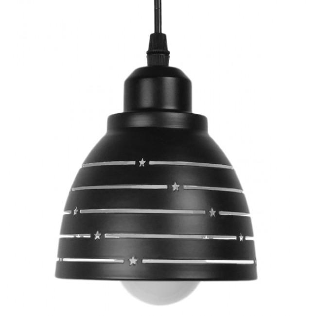 Μοντέρνο Κρεμαστό Φωτιστικό Οροφής Μονόφωτο Μεταλλικό Μαύρο Λευκό Καμπάνα Φ13 GloboStar LINE STARS 01483 - 3