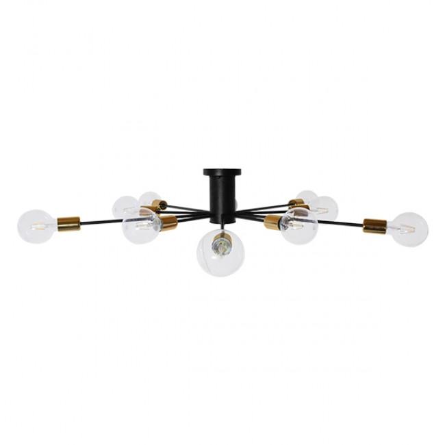 Μοντέρνο Industrial Φωτιστικό Οροφής Πολύφωτο Μαύρο Μεταλλικό Φ122 GloboStar OLINDA 01244 - 4