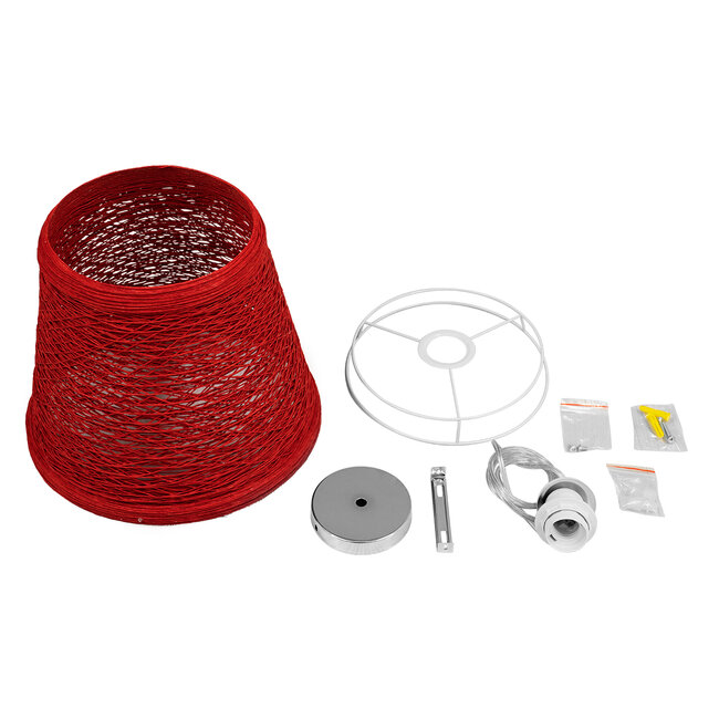 PLAYROOM 00863 Vintage Κρεμαστό Φωτιστικό Οροφής Μονόφωτο Κόκκινο Ξύλινο Ψάθινο Rattan Φ32 x Υ27cm - 8
