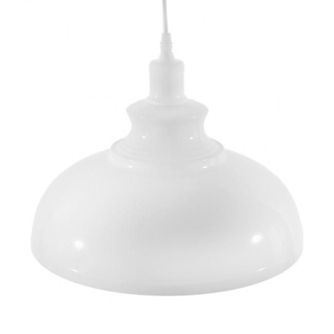 Μοντέρνο Κρεμαστό Φωτιστικό Οροφής Μονόφωτο Λευκό Χρυσό Μεταλλικό Καμπάνα Φ35 GloboStar OBERYN 00999 - 3