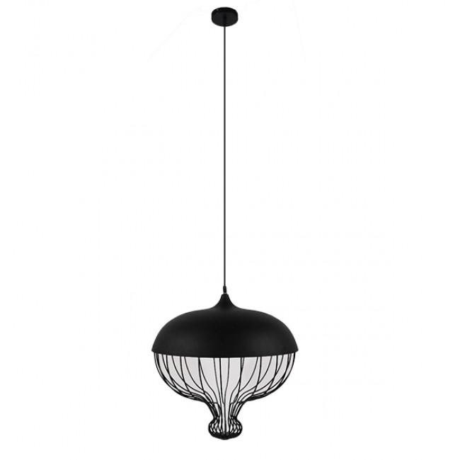 Vintage Κρεμαστό Φωτιστικό Οροφής Μονόφωτο Μαύρο Μεταλλικό Πλέγμα Φ46 GloboStar SOBRINO 01108 - 2