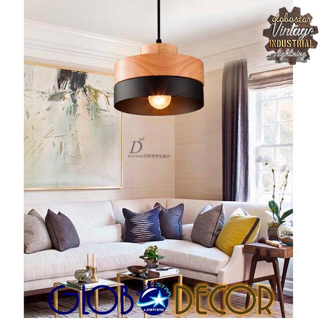 Μοντέρνο Κρεμαστό Φωτιστικό Οροφής Μονόφωτο Μαύρο Μεταλλικό με Φυσικό Ξύλο Καμπάνα Φ18  RUHIEL 01233 - 10