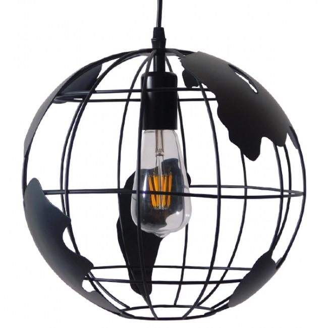 Vintage Industrial Κρεμαστό Φωτιστικό Οροφής Μονόφωτο Μαύρο Μεταλλικό Πλέγμα Φ30 GloboStar WORLD 01205