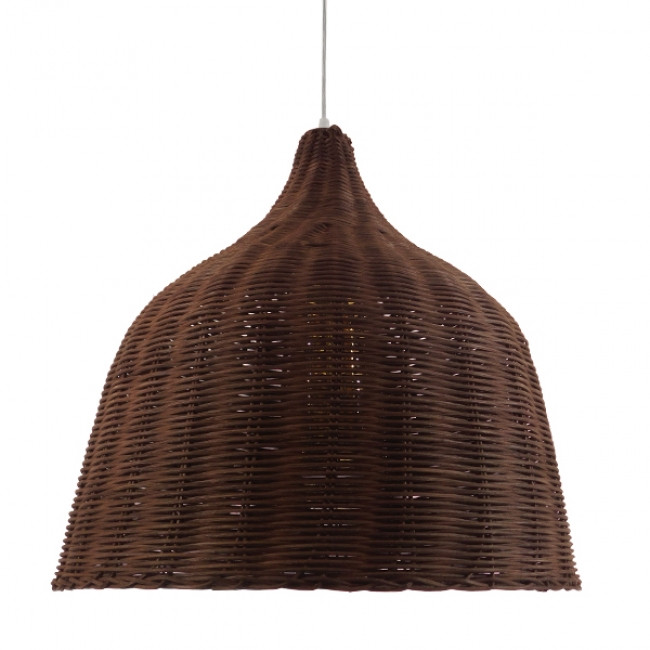 Vintage Κρεμαστό Φωτιστικό Οροφής Μονόφωτο Καφέ Σκούρο Ξύλινο Ψάθινο Rattan Φ45 GloboStar WABI 01368 - 3