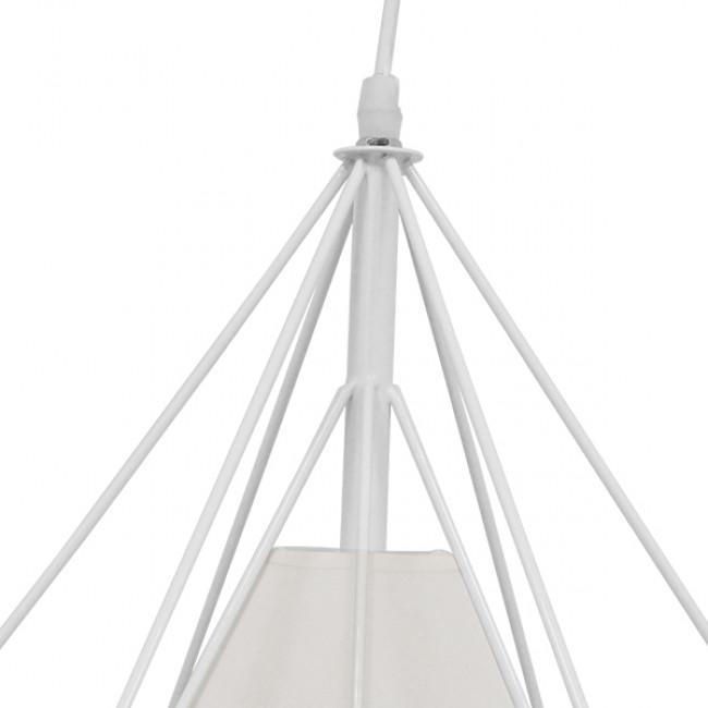 Μοντέρνο Industrial Κρεμαστό Φωτιστικό Οροφής Μονόφωτο Λευκό με Ύφασμα Μεταλλικό Πλέγμα Φ38 GloboStar KAIRI WHITE 01619 - 6