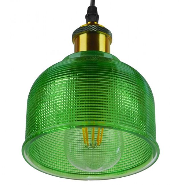 Vintage Κρεμαστό Φωτιστικό Οροφής Μονόφωτο Πράσινο Γυάλινο Διάφανο Καμπάνα με Χρυσό Ντουί Φ14 GloboStar SEGRETO GREEN 01451 - 5