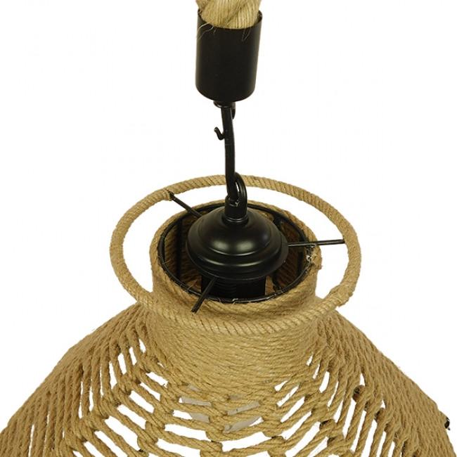 Vintage Κρεμαστό Φωτιστικό Οροφής Μονόφωτο Μπεζ Καμπάνα με Σχοινί Φ41  OZERO 01603 - 8