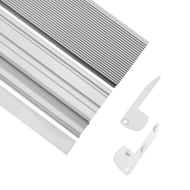 GloboStar® 70823-1M Προφίλ Αλουμινίου για Σκαλοπάτια Ανοδιωμένο με Λευκό Οπάλ Κάλυμμα για 1 Σειρά Ταινίας LED Πατητό - Press On - 2