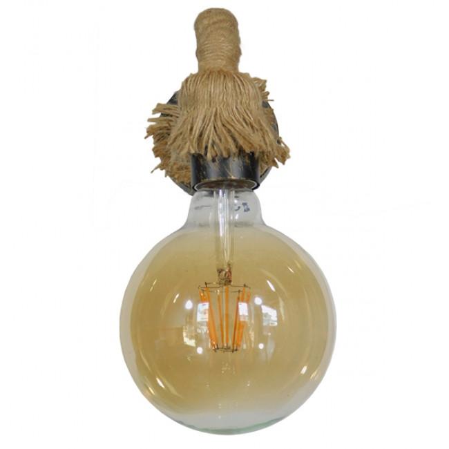 Vintage Φωτιστικό Τοίχου Απλίκα Μονόφωτο Μπρούτζινο Σκουριά Μεταλλικό με Μπεζ Σχοινί Φ10 GloboStar CENADEL 01135 - 3