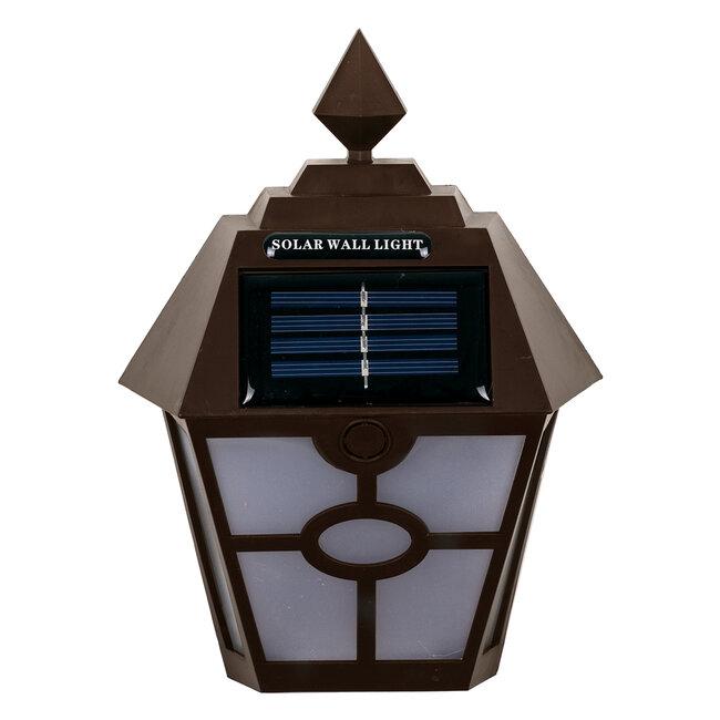 71493 Αυτόνομο Ηλιακό Φωτιστικό Τοίχου Καφέ LED SMD 1W 100lm με Ενσωματωμένη Μπαταρία 600mAh - Φωτοβολταϊκό Πάνελ με Αισθητήρα Ημέρας-Νύχτας IP65 Ψυχρό Λευκό 6000K - 3