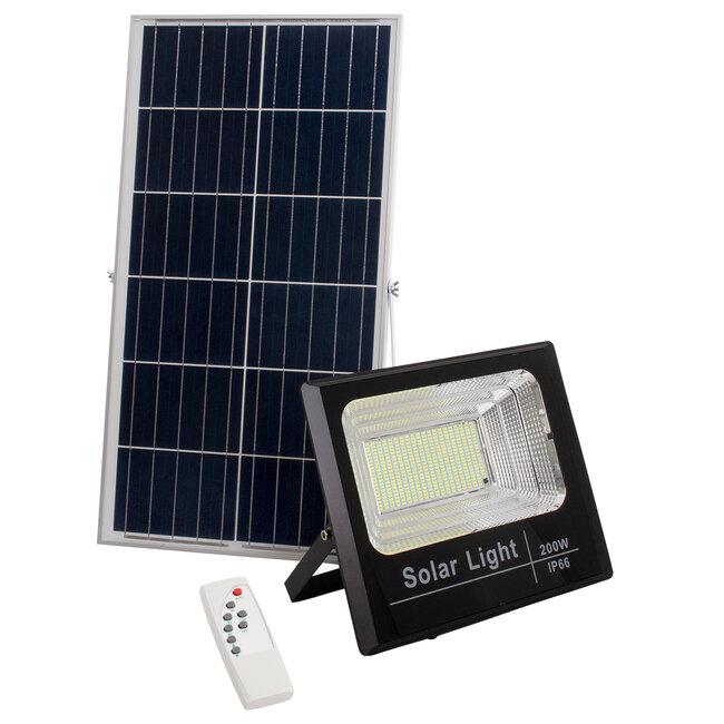 GloboStar® 71558 Αυτόνομος Ηλιακός Προβολέας LED SMD 200W 16000lm με Ενσωματωμένη Μπαταρία 20000mAh - Φωτοβολταϊκό Πάνελ με Αισθητήρα Ημέρας-Νύχτας και Ασύρματο Χειριστήριο RF 2.4Ghz Αδιάβροχος IP66 Ψυχρό Λευκό 6000K - 2