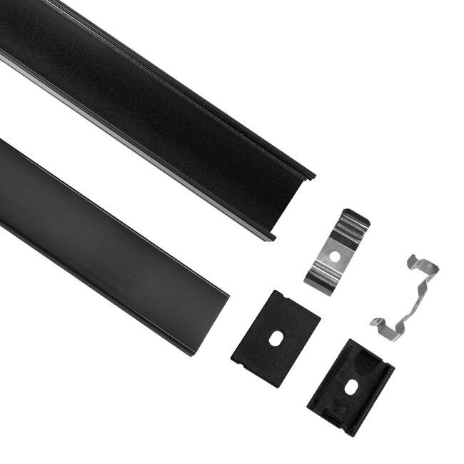 GloboStar® 70825-3M Επιφανειακό Προφίλ Αλουμινίου Μαύρο με Μαύρο Οπάλ Κάλυμμα για 2 Σειρές Ταινίας LED Πατητό - Press On Πακέτο 5 Τεμάχια των 3 Μέτρων - 3