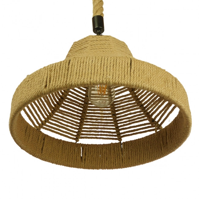 Vintage Κρεμαστό Φωτιστικό Οροφής Μονόφωτο Καμπάνα με Μπεζ Σχοινί Φ41 GloboStar DOGMA 01609 - 7