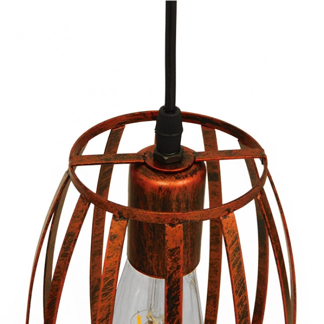 Vintage Industrial Κρεμαστό Φωτιστικό Οροφής Μονόφωτο Καφέ Σκουριά Μεταλλικό Πλέγμα Φ14  ZEBRA IRON RUST 01639 - 6