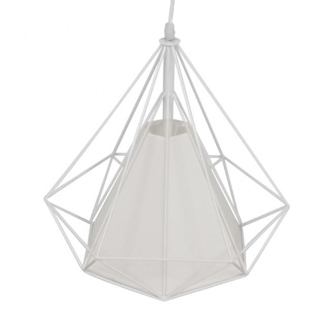 Μοντέρνο Industrial Κρεμαστό Φωτιστικό Οροφής Μονόφωτο Λευκό με Ύφασμα Μεταλλικό Πλέγμα Φ38 GloboStar KAIRI WHITE 01619 - 5