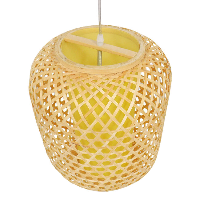 Vintage Κρεμαστό Φωτιστικό Οροφής Μονόφωτο Καφέ Ξύλινο Bamboo Φ30  MAURITIUS Φ30 00899 - 7