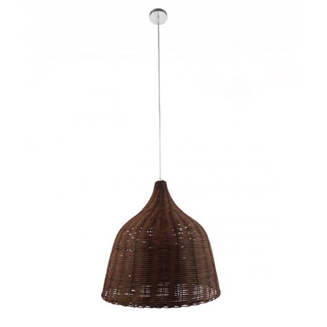 Vintage Κρεμαστό Φωτιστικό Οροφής Μονόφωτο Καφέ Σκούρο Ξύλινο Ψάθινο Rattan Φ45 GloboStar WABI 01368 - 2