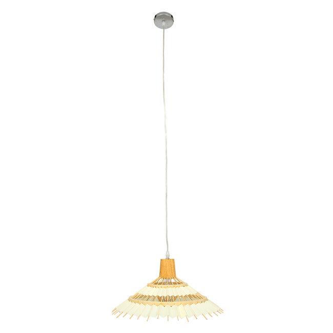 VENTALIA 00897 Vintage Κρεμαστό Φωτιστικό Οροφής Μονόφωτο Μπεζ Ξύλινο Bamboo Φ40 x Y22cm - 3