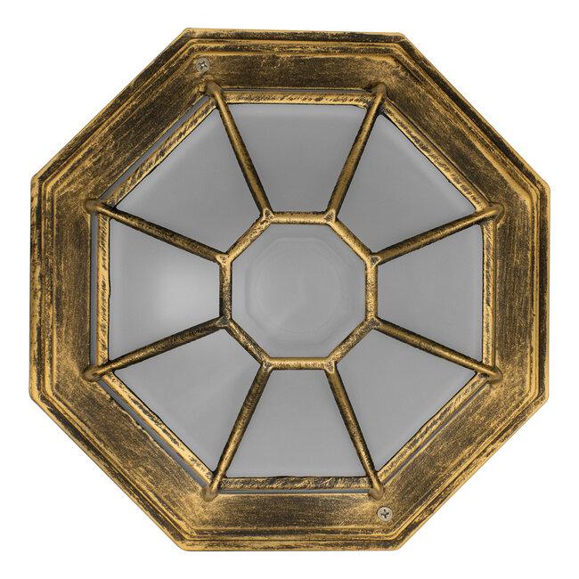 RUBY 00914 Vintage Μεταλλικό Φωτιστικό Πλαφονιέρα Οροφής - Απλίκα Τοίχου από Αλουμίνιο με Ντουί E27 Μονόφωτο Μπρούτζινο Σκουριά με Γαλακτερό Γυαλί Μ27 x Π27 x Υ12cm - 5